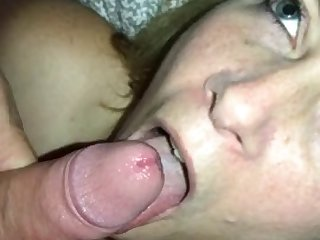wife sucking cock and taking cum in her mouth and a facial