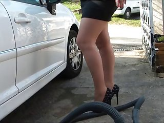 car wash in pantyhose