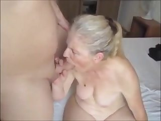 grandma sucking young dick and get facial