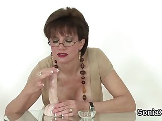 cheating british mature lady sonia showcases her massive boobs