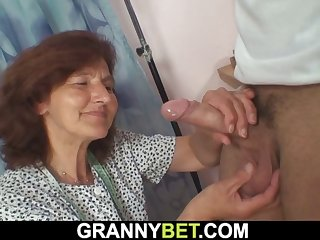 clothed granny loves sucking and riding his dick