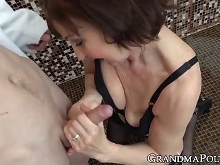slutty granny seduces innocent young man into shower sex