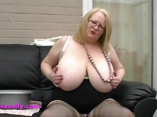 a lovely big breakage and big tits on this grey woman