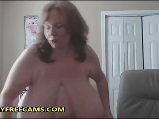 omfg this granny has some monster natural breast